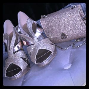 Gold Sparkly Party Heel & Clutch